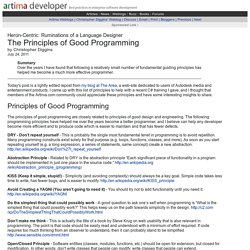 The Principles of Good Programming