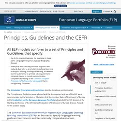 Principles, Guidelines and the CEFR