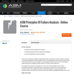 ASM Principles Of Failure Analysis - Online Course - ASM International