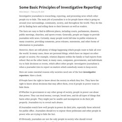 Some Basic Principles of Investigative Reporting!
