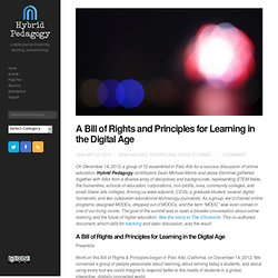 A Bill of Rights and Principles for Learning in the Digital Age