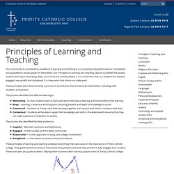 Principles of Learning and Teaching - Trinity Catholic College