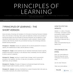 7 Principles of Learning – the short version