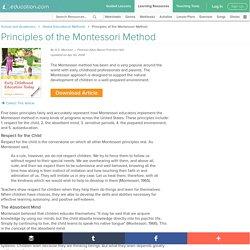 Principles of the Montessori Method