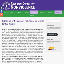 Principles of Nonviolent Resistance By Martin Luther King Jr.
