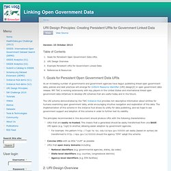 URI Design Principles: Creating Persistent URIs for Government Linked Data
