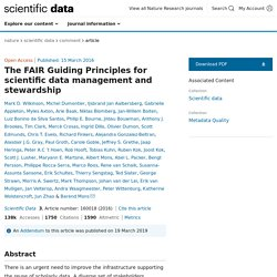The FAIR Guiding Principles for scientific data management and stewardship