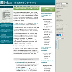 Principles of Course Design - Teaching Commons