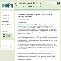 Principles of Transparency and Best Practice in Scholarly Publishing - OASPA
