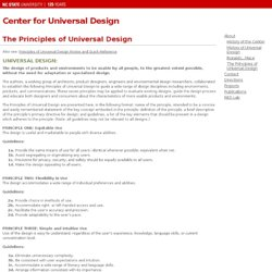 The Principles of Universal Design at Center for Universal Design