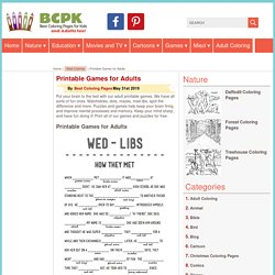 Printable Games for Adults - Best Coloring Pages For Kids