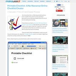 Printable Checklist : A No-Nonsense Online Checklist Creator