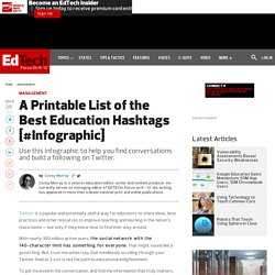 A Printable List of the Best Education Hashtags