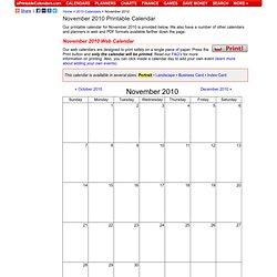 November 2010 Printable Calendar