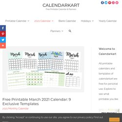 Free Printable March 2021 Calendar: 9 Exclusive Templates