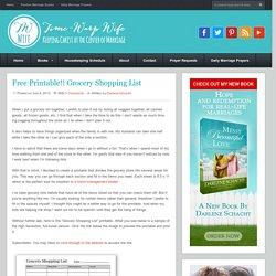 Free Printable!! Grocery Shopping List