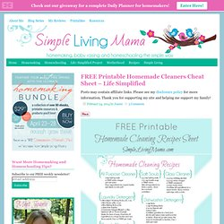FREE Printable Homemade Cleaners Cheat Sheet - Life Simplified - Simple Living Mama