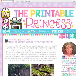 The Printable Princess: Back to School Games for Kindergarten