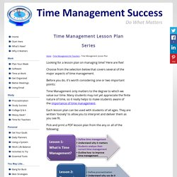 Printable Time Management Lesson Plan Series
