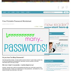 Free Printable Password Worksheet