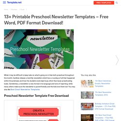 13+ Printable Preschool Newsletter Templates – Free Word, PDF Format Download!