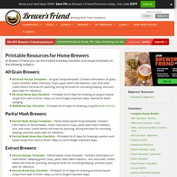 Printable Resources for Home Brewers - Brewer's Friend