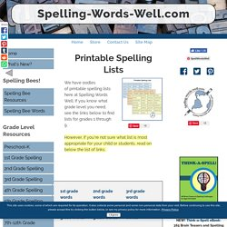 Printable Spelling Lists for Grades 1 -9
