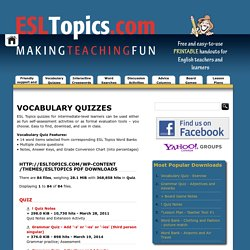 FREE ESL Topics, PRINTABLE PDF Downloads, Handouts & Lessons