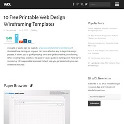 10 Free Printable Web Design Wireframing Templates