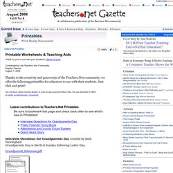 Printable Worksheets & Teaching Aids - Print ready Documents in PDF format, August 2008 - Teachers.Net Gazette