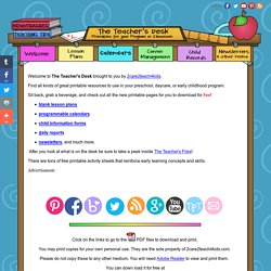 The Teacher's Desk- Free Printables for your Program or Classroom- 2care2teach4kids.com