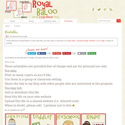 Royal Baloo free printable packs
