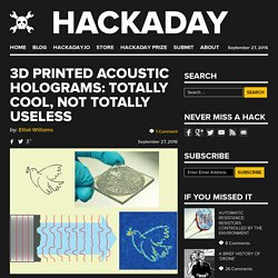3D Printed Acoustic Holograms: Totally Cool, Not Totally Useless