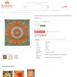 Buy Cotton Dark Cyan Green Floral Printed Mandala Tapestry Online At Rajrang