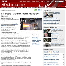 Nasa tests 3D-printed rocket engine fuel injector