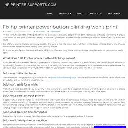 Fix hp printer power button blinking won't print