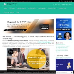 HP Printer Customer Support Number 1800-243-0019 For Help