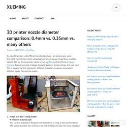 3D printer nozzle diameter comparison: 0.4mm vs. 0.35mm vs. many others