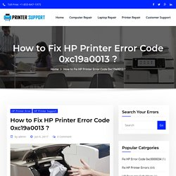Fix HP Printer Error Code 0xc19a0013