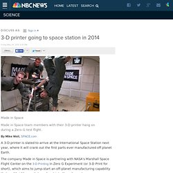 3-D printer going to space station in 2014