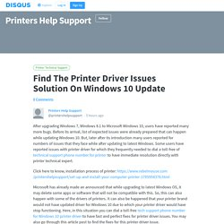 Find The Printer Driver Issues Solution On Windows 10 Update