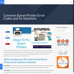 Common Epson Printer Error Codes and its Solutions
