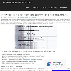 How to fix hp printer streaks when printing error?