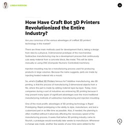 How Have Craft Bot 3D Printers Revolutionized the Entire Industry?