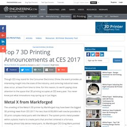Top 7 3D Printing Announcements at CES 2017