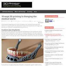 10 ways 3D printing is changing the medical world