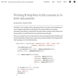 Printing R help files in the console or in knitr documents