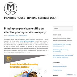 Printing company banner: Hire an effective printing services company!